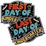 Ivenf First and Last Day of Kindergarten Chalkboard Sign, 14 x 10 Inch Reusable Double-Sided Back to School Board Sign, Wood Photo Prop Chalk Boards