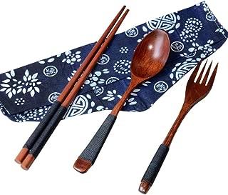 OYEFLY Japanese Wooden Chopsticks Spoon Fork Tableware 3pcs Set New Gift (Medium, Brown)