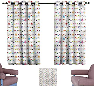 Mannwarehouse Hearts Customized Curtains Musical Notes Sheet Love Set of Two Panels 55
