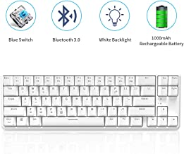 NACODEX K680T 60% Wireless/Wired Mechanical Keyboard - Compact 68 Keys 1000mAh Rechargeable Gaming/Office Keyboard Multi-Device for iOS Android Windows and Mac (Blue Switch White Backlit White)