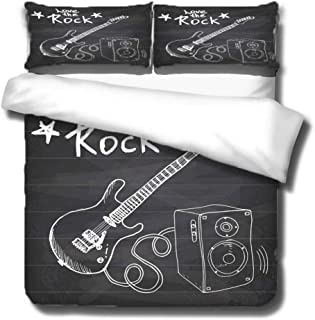 ZZZXX Funda Nordica Guitarra De Instrumento De Rock Juego De Ropa De Cama para Niños, Edredón Y Funda De Almohada, Microfibra, Impresión Digital 3D 3 Piezas,200X200