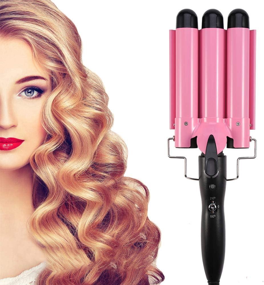 Rizador de pelo con 3 tubos, plancha ondulada, doble regulación de la temperatura para cabello largo/corto con efecto rizado y ondulado (32 mm)