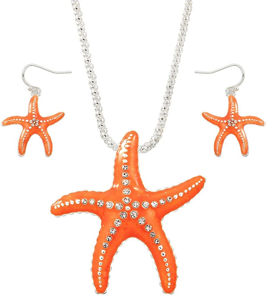 Liavy's Starfish Fashionable Necklace & Earrings Set - Hand Painted - Sparkling Crystal - Fish Hook - 17