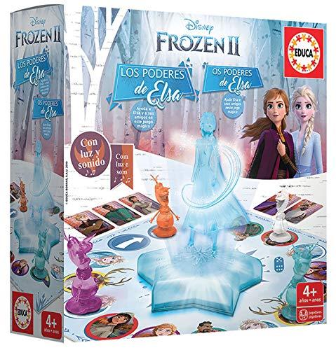 Educa- Frozen II Los Poderes de Elsa Juego de Mesa con luz y Sonido, a Partir de 4 años (18239)