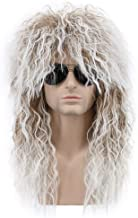 Karlery Men and Women Long Curly Brown Gradient White 70s Heavy Metal Rocker Mullet Wig 80s Costume Anime Wig