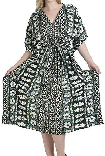 LA LEELA dames Kaftan tuniek gedrukt kimono vrije maat lange maxi party jurk voor loungewear vakantie nachtkleding strand elke dag jurken BQ
