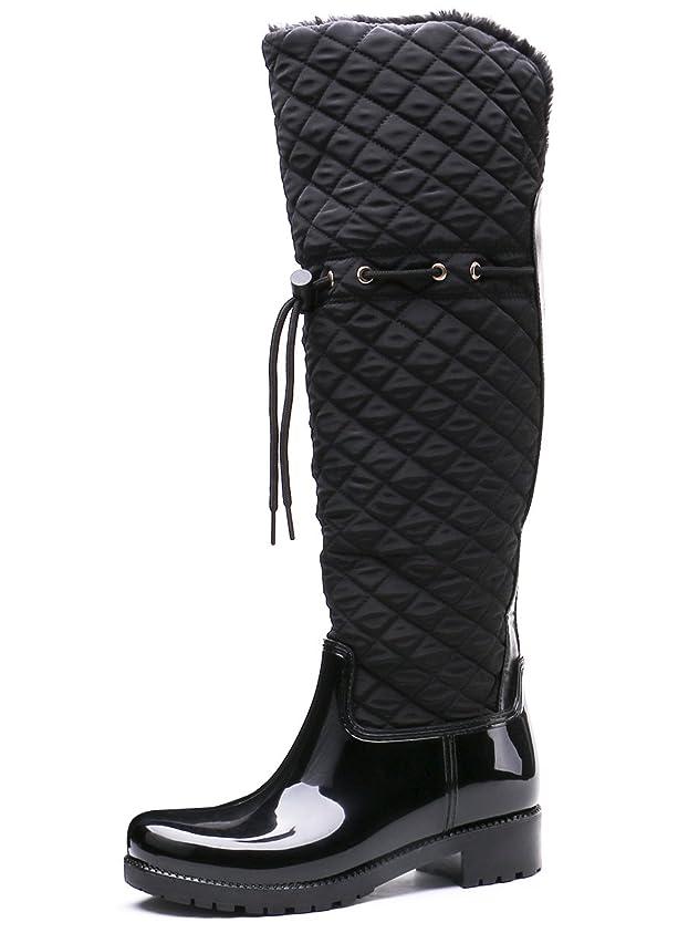 有益印象的乳白[トングプー] シューズ 长靴 裹起毛 おしゃれ レインブーツ 女性 雨靴 防水 防寒 棉靴 雪 冬