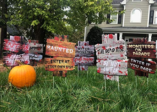6PCS Yard Signs for Halloween?Beware Signs Yard Stakes Warning Yard Sign Stakes for Halloween Decorations Outdoor Lawn Decorations, 15 x 11 Yard Decorations for Haunted House, Scary Theme Party