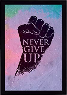Ritwikas Abstract Wall Art Of Never Give Up Quote With Frame for Home and Office Decor | 9.5 inch x 13.5 inch | Multi Colo...