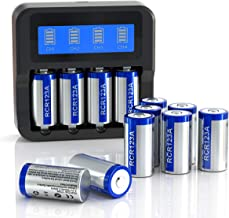 _CR123A Rechargeable Batteries and Charger Bundle, 4 Slots LCD Display Charger with 12 Pack 3.7V 700mAh Rechargeable Batteries for Arlo Cameras (VMC3030/VMK3200/VMS3330/3430/3530) and More Devices