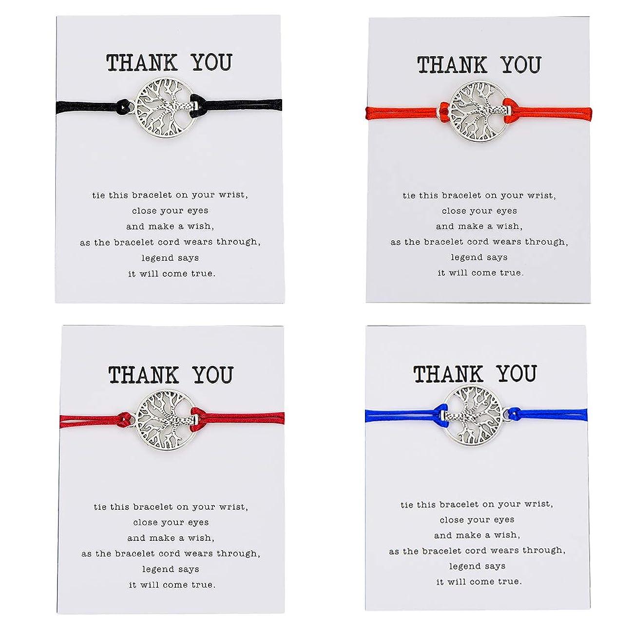 Pipitree Friendship Bracelet Gift Card -Thank You Wish Bracelet Jewelry Charm Bracelet for Friends(4Pcs)