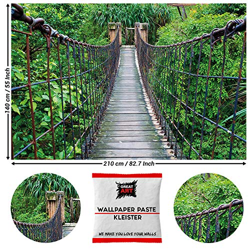 Great Art fotobehang jungle opknoping brug 210 x 140 cm - 5 Teile + Kleister Dschungelwanderung
