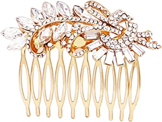 Rosemarie Collections Women's Headpiece Glass Crystal Leaf Design Hair Comb