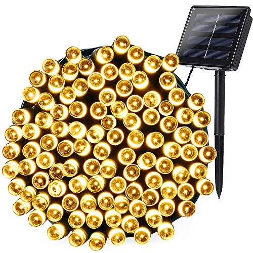 Qedertek Solar Lichterkette außen, 20M 200 LED Solar Lichterkette Aussen Wasserdichte, 8 Modi Solar Lichterkette Deko für Garten, Balkon, Terrasse, Zaun, Hochzeit (Warmweiß)