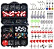 264PCS Fishing Accessories Kits with Tackle Box Saltwater Freshwater,Fishing Tackle Lure Kits Including Jig Hooks,Cross Barrel Swivel,Barrel Snap Swivel,Sinker Slides,Lead Sinker,Treble Hooks