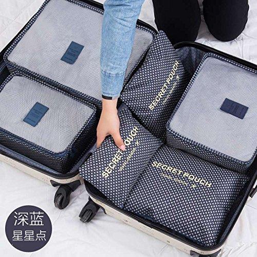 MZP vêtements de tri forfait pochette Voyage valise indispensable sacs de rangement de vêtements Voyage paquet de finition de sous-vêtements , deep blue star point set of six