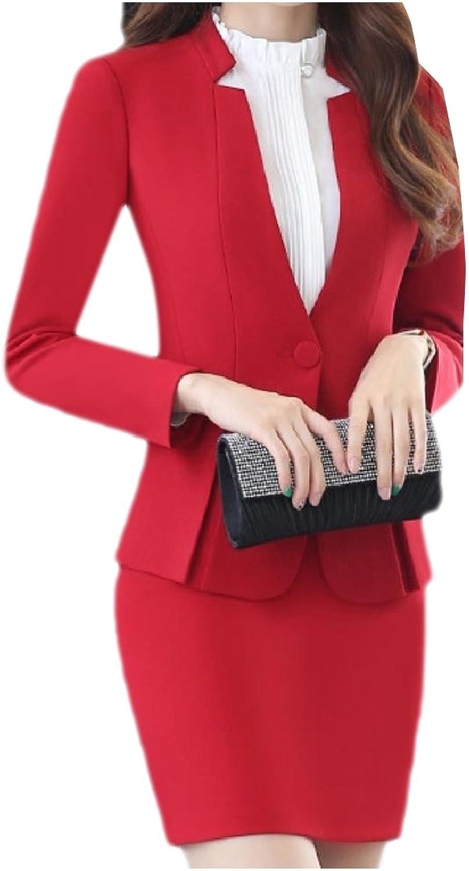 Vska Women Pure Colour Buckle Peplum Work Blazer and Skirt Suit Set