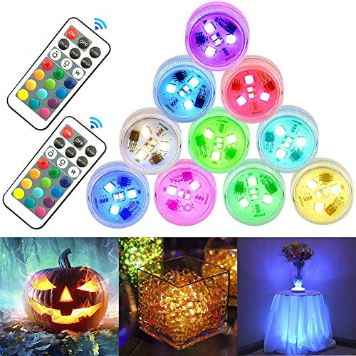 StillCool Submersible LED Lights 10pcs Mini Waterproof Tea Lights Multi-color Underwater Light with Remote Battery Operated Decorative Lights for Lighting Up Vase,Fish Tank,Wedding,Halloween,Christmas