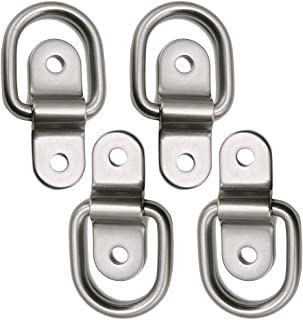 D-ring Tie Down Anchor 4x 1/4'' Stainless Steel D-rings Trailer D Ring Tie Downs, 700lbs D-ring Bracket, D Ring Mounting Plate Tie Down Points for Ratchet Tie Down Straps Car Truck Bed Cargo