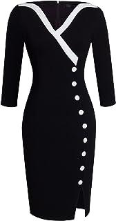 HOMEYEE Vestido Casual Ajustado con Cuello en V y Escote Redondo Grande para Mujer B335