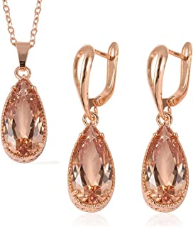 """Shop LC Delivering Joy Silvertone Pear White Cubic Zirconia CZ Earrings Pendant Necklace Jewelry Gift Set for Women 20"""" Cttw 7.4"""