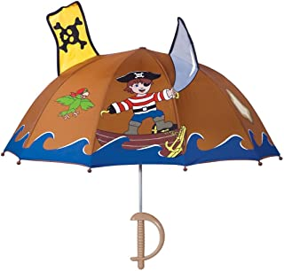 Pirate Umbrella for Boys w/Fun Sword Handle, Pop-Out Skull and Crossbones and Sword