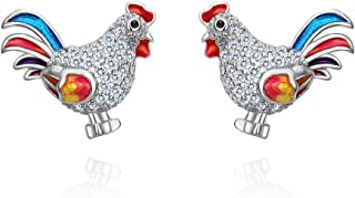 EVER FAITH Women's 925 Sterling Silver CZ Multicolor Enamel Rooster Animal Pierced Stud Earrings Clear