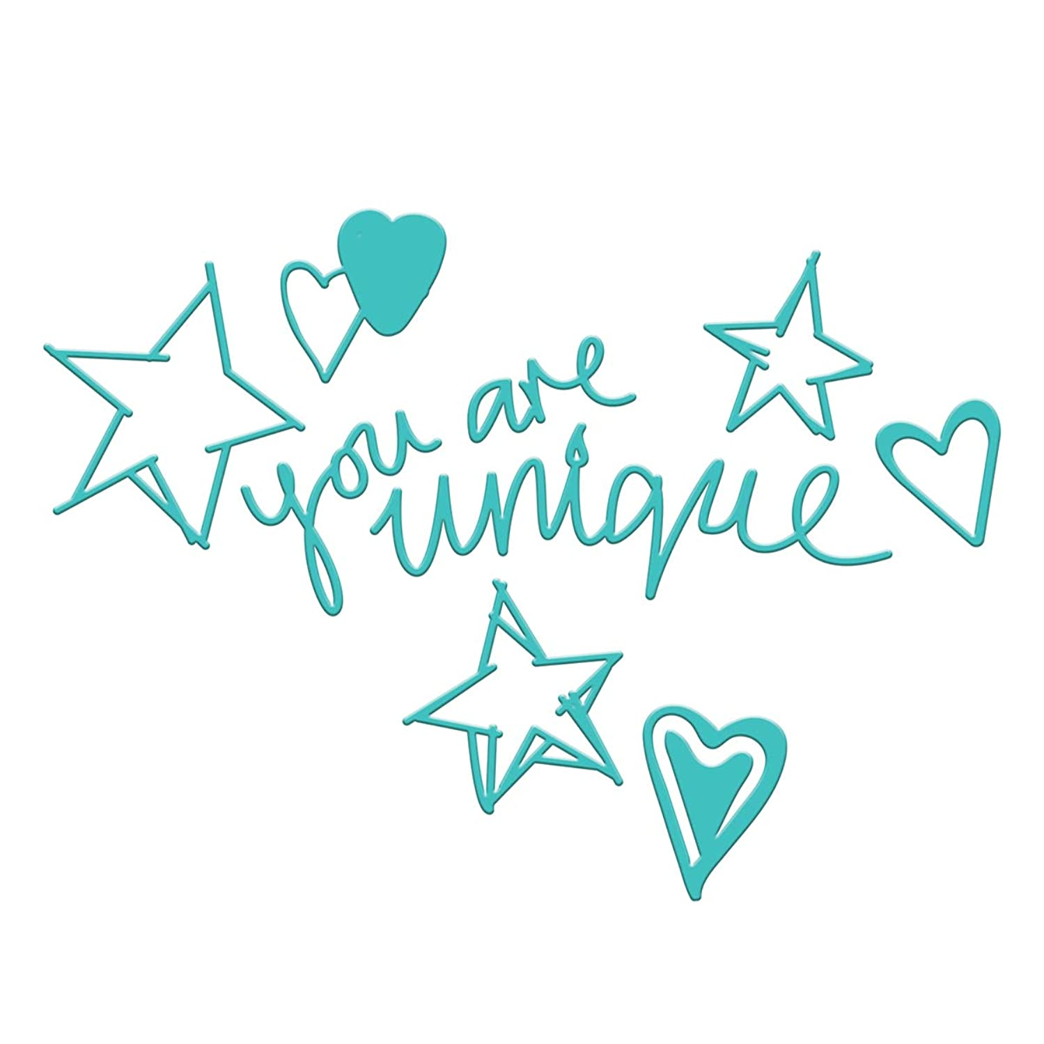 Spellbinders JDD-005 Jane Davenport You are Unique Etched/Wafer Thin Dies, Teal