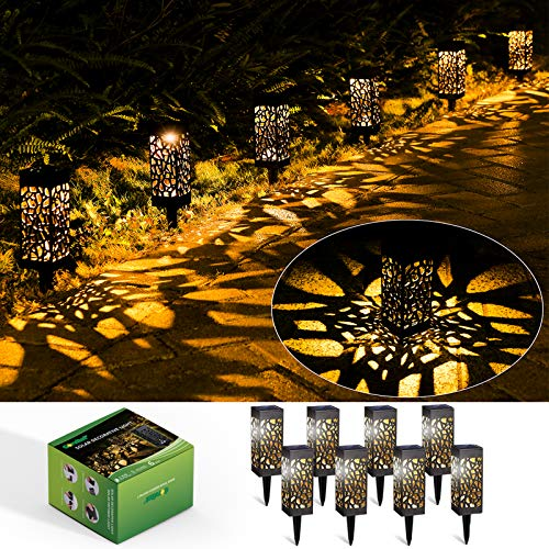 Solar Gartenleuchte, 8 Stück LED Solarlampen für Außen Garten, IP65 Wasserdicht Dekorative Warmweiß LED Solarleuchten Garten für Terrasse Rasen Garten Hofwege