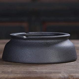 BBGSFDC Juego de té de gres Cenicero, Gran Mesa de café Moderna Simple de la Sala de Estar Oficina Cenicero, Negro Mate