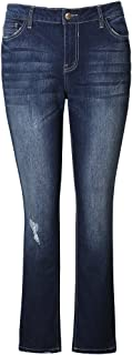MSSHE Women's Plus Size Stretchy High-Rise Skinny Bell Bottom Bootcut Jeans