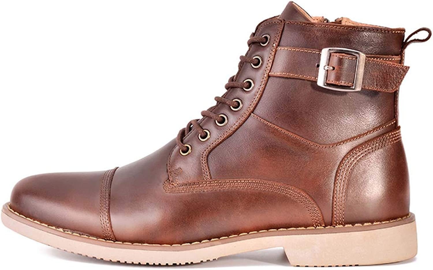 MISS&YG Men's High-Top Leather Lace-Up Boots Martin Boots Casual shoes