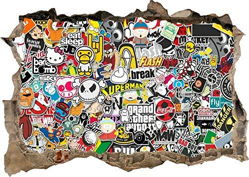 DDSYJ Etiqueta de la pared 3d Graffiti Sticker Bomb Style 3D Smashed View Wall Sticker Poster Bedroom