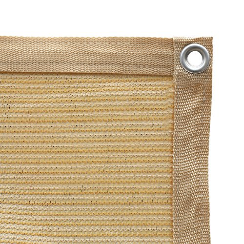 Shatex 90% Shade Fabric Sun Shade Cloth Taped Edge with Grommets Sun-Block Mesh Shade for Pergola Cover Canopy 10' x 10', Wheat, 12 Bungee Balls