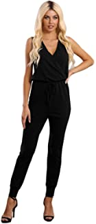 Fixmatti Women Casual V Neck Jumpsuit Sleeveless Long Pant Romper with Drawstring Waist