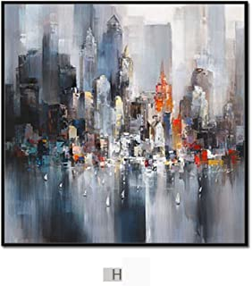 PLLP Modern Minimalist Abstract City Painting, Triple Living Room Sofa Background Wall Decoration Painting, Dining Room Bedroom Wall Painting