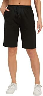 """Stelle Women's 10"""" Lounge Bermuda Shorts Athletic Casual Jersey Cotton Sweat Shorts with Pockets"""
