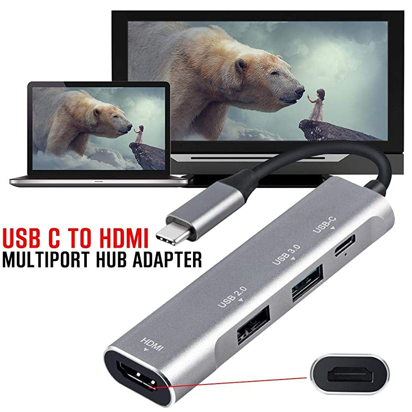 Gorge-buy Type-C to HDMI PD USB3.0 Hub Adapter - 4-in-1 Docking Station Multiport USB-C Hub HD Video HDMI Compatible for System iOS\Windows\Macos \Linux
