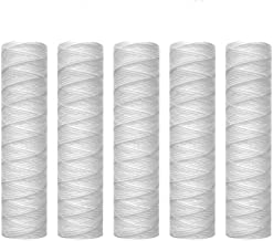 """Lafiucy 5 Micron 10"""" x 2.5"""" String Wound Sediment Water Filter Cartridge,5 Pack,Whole House Sediment Filtration, Universal..."""