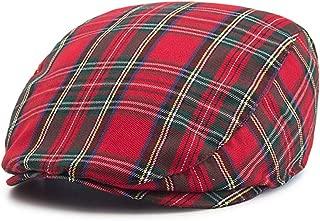 RICHTOER Newsboy Cap Beret Men Women Flat Caps Cotton Plaid Hat Outdoors