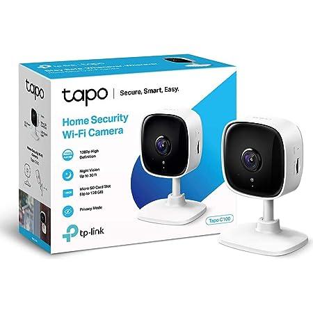 TP-Link TAPO C100 - Cámara Vigilancia WiFi Interior, óptima para Vigilar Bebés y Mascotas, Visión Nocturna, Detección de Movimiento, Audio Bidireccional, Almacenamiento SD, Compatible con Alexa