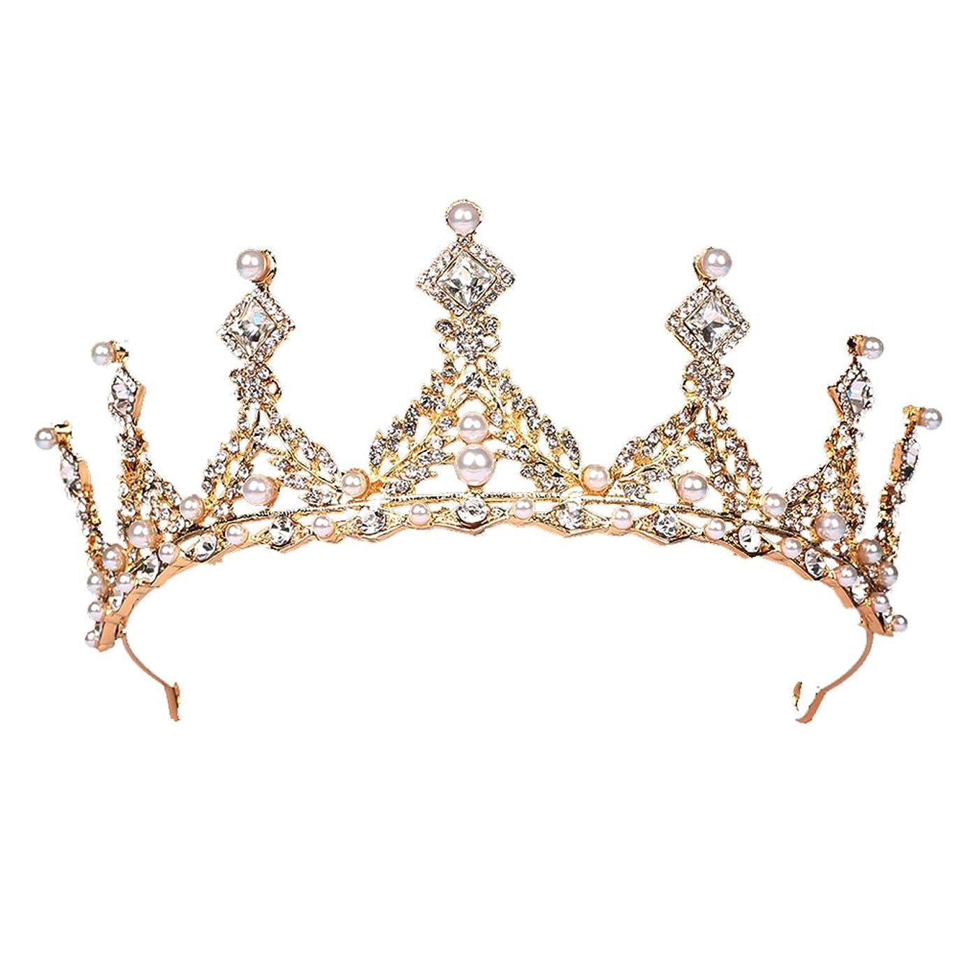 大胆なポンペイ暗くするFENICAL ブライダル ティアラ ヘアバンド 花嫁 結婚式 ウェディング 王冠 クラウン クリスタル 髪飾り ヘアアクセサリー(ゴールデン)