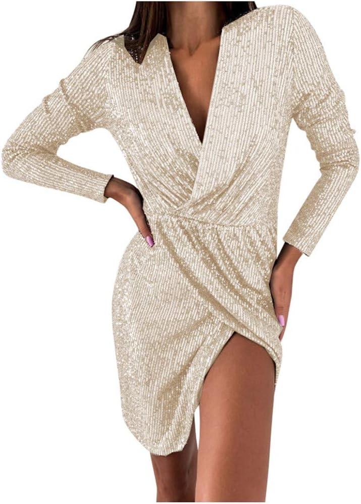 5% OFF YOMXL Women Deep V Neck Wrap Nightclub Ruched Sleeve Long Dress Nippon regular agency
