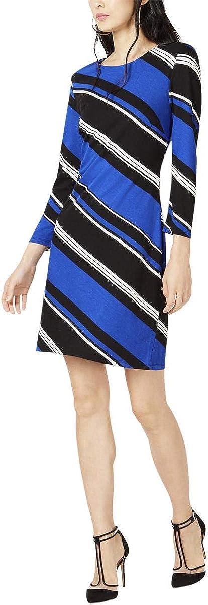 INC Womens Striped Zipper Cocktail Dress