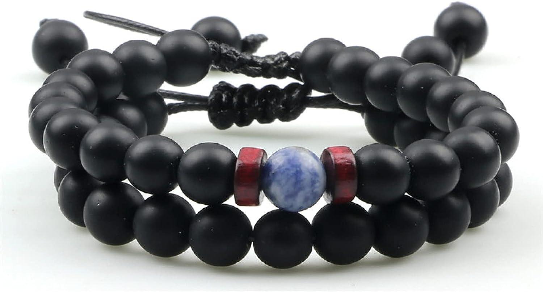 GTHT Men Bracelets Stone Be super welcome Bracelet Max 62% OFF Matte Beaded 8mm Black Set
