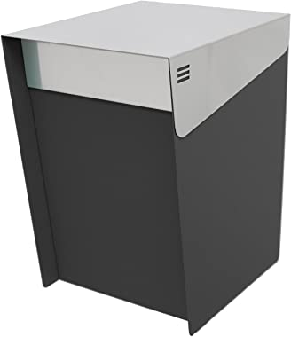 "KATANABOX Mega DR - Stainless Steel Post Mount Modern Design Mailbox with Lock and Key Extra Large Letterbox Rust Proof for Modern Home House Apartment Rural Roadside 16"" x 11"" x 13"" (Black)"