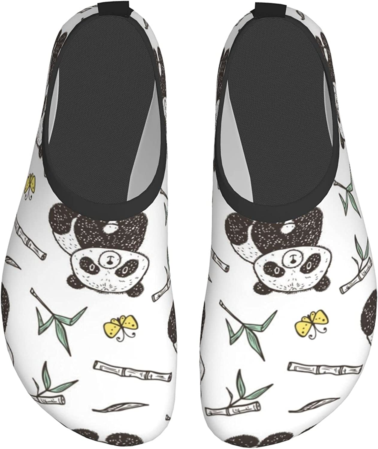 Cute Baby Panda with Bamboo Water Shoes Swim Wading Shoes Barefoot Shoes for Women Men Beach Pool Surfing