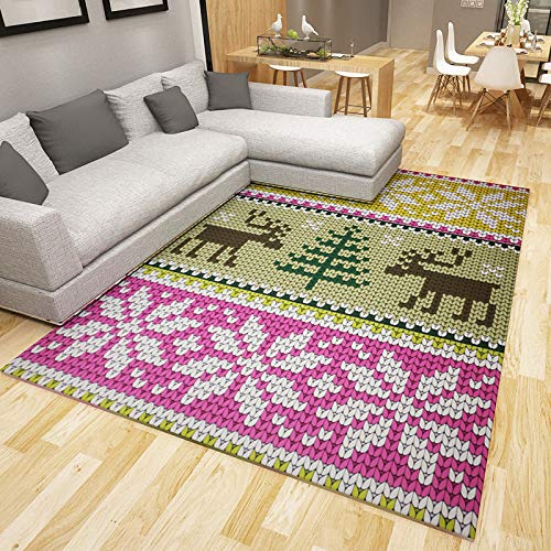 QWEASDZX Carpet, Non-Slip Jacquard Carpet, Living Room Mat, Water-Absorbing Anti-Slip, Vintage Area Carpet 50x80cm