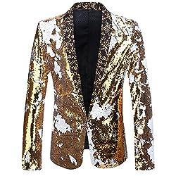 Gold + White Color Conversion Shiny Sequins Blazer