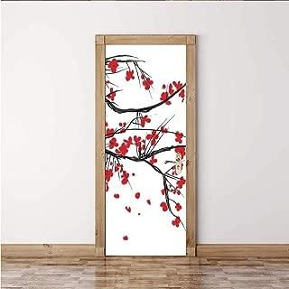ALUONI House Decor Colorful Door Sticker,Sakura Blossom Japanese Cherry Tree Summertime Vintage Cultural Artwork,2PCS/Set(15''W x 78''H)
